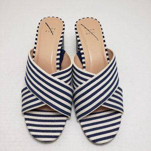 A New Day Striped Blue Open Toe Backless Sandals